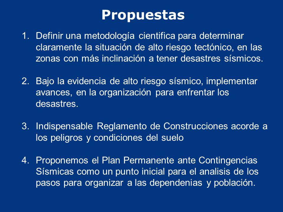 Propuestas 1. 1.Definir una metodología cientifica para determinar claramente la situación de alto riesgo tectónico, en las zonas con más inclinación