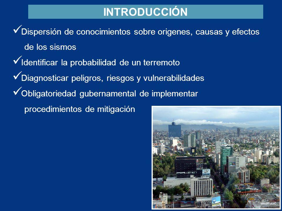 Dispersión de conocimientos sobre origenes, causas y efectos de los sismos Identificar la probabilidad de un terremoto Diagnosticar peligros, riesgos