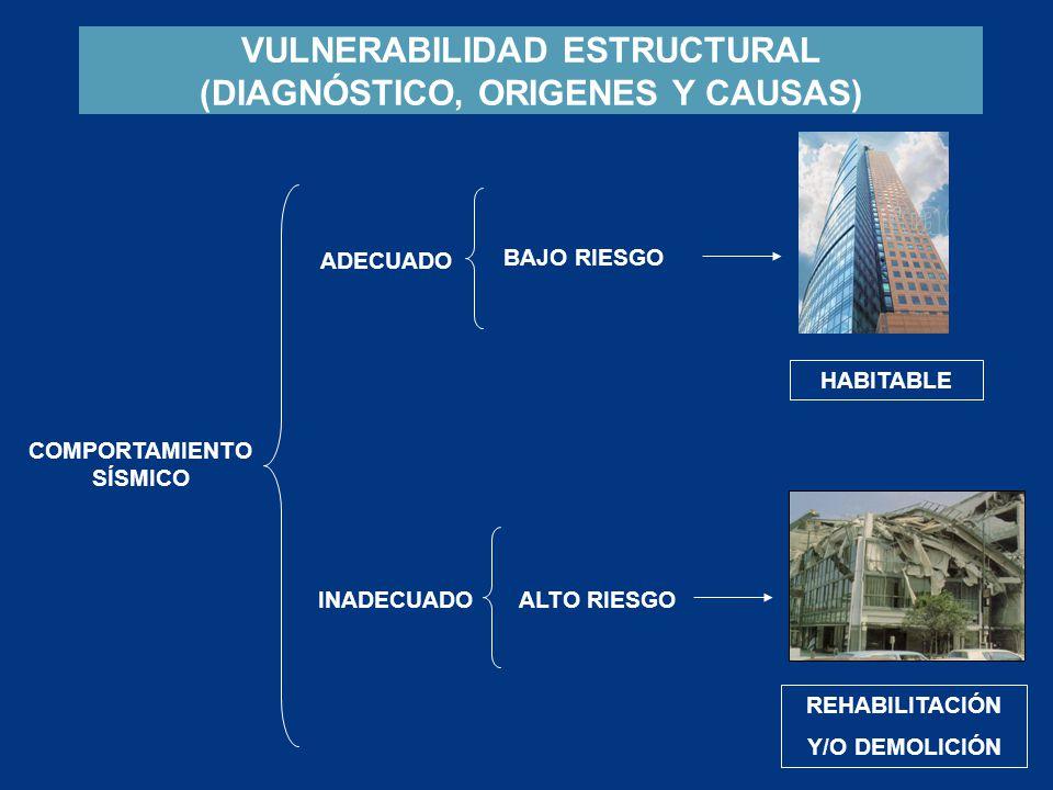 VULNERABILIDAD ESTRUCTURAL (DIAGNÓSTICO, ORIGENES Y CAUSAS) ADECUADO INADECUADO REHABILITACIÓN Y/O DEMOLICIÓN BAJO RIESGO HABITABLE COMPORTAMIENTO SÍS