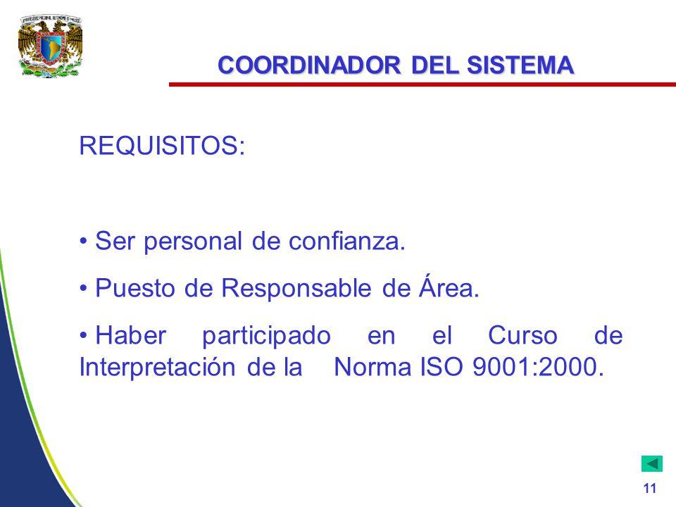 COORDINADOR DEL SISTEMA REQUISITOS: Ser personal de confianza.