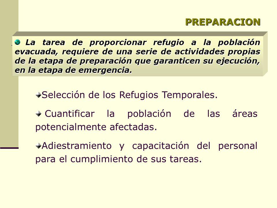 PREPARACION Selección de los Refugios Temporales. Cuantificar la población de las áreas potencialmente afectadas. Adiestramiento y capacitación del pe