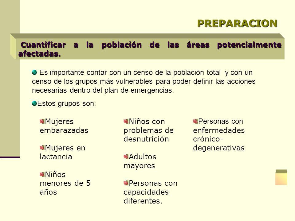 PREPARACION Cuantificar a la población de las áreas potencialmente afectadas. Es importante contar con un censo de la población total y con un censo d