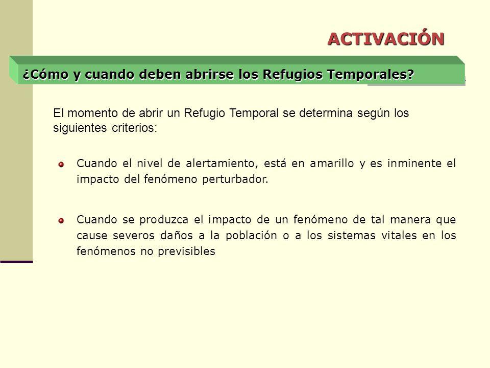 ¿Cómo y cuando deben abrirse los Refugios Temporales? Cuando el nivel de alertamiento, está en amarillo y es inminente el impacto del fenómeno perturb
