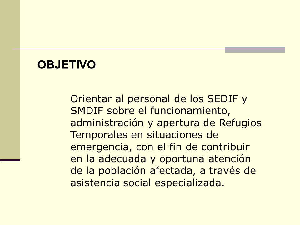 Orientar al personal de los SEDIF y SMDIF sobre el funcionamiento, administración y apertura de Refugios Temporales en situaciones de emergencia, con el fin de contribuir en la adecuada y oportuna atención de la población afectada, a través de asistencia social especializada.