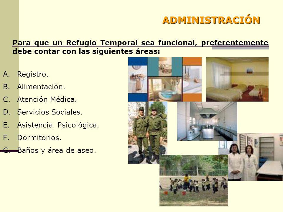 ADMINISTRACIÓN Para que un Refugio Temporal sea funcional, preferentemente debe contar con las siguientes áreas: A.Registro. B.Alimentación. C.Atenció