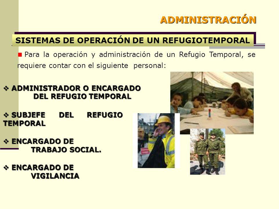 SISTEMAS DE OPERACIÓN DE UN REFUGIOTEMPORAL Para la operación y administración de un Refugio Temporal, se requiere contar con el siguiente personal: ADMINISTRADOR O ENCARGADO ADMINISTRADOR O ENCARGADO DEL REFUGIO TEMPORAL DEL REFUGIO TEMPORAL SUBJEFE DEL REFUGIO TEMPORAL SUBJEFE DEL REFUGIO TEMPORAL ENCARGADO DE TRABAJO SOCIAL.