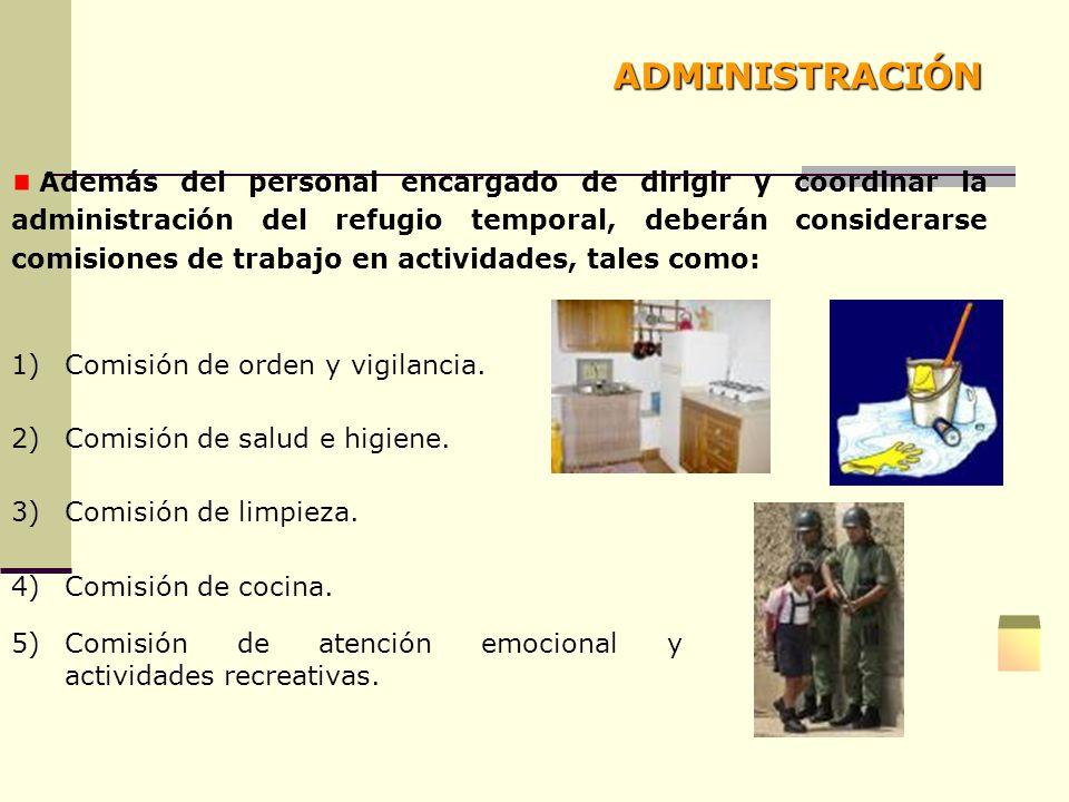 Además del personal encargado de dirigir y coordinar la administración del refugio temporal, deberán considerarse comisiones de trabajo en actividades