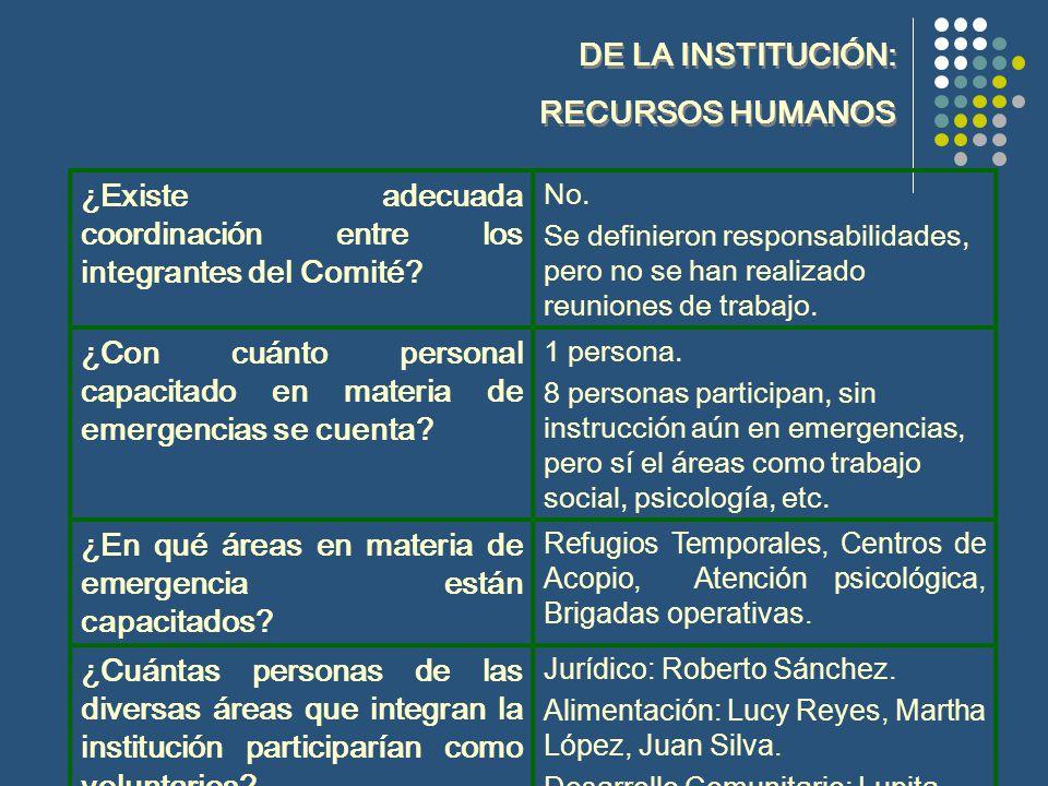 DE LA INSTITUCIÓN: RECURSOS HUMANOS DE LA INSTITUCIÓN: RECURSOS HUMANOS ¿Existe adecuada coordinación entre los integrantes del Comité.