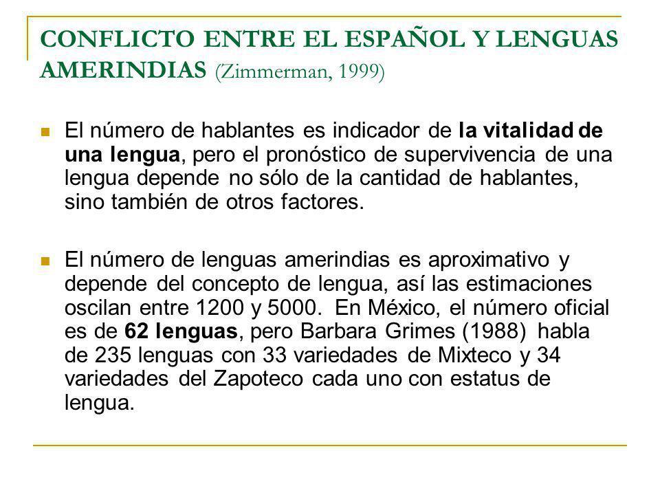 CONFLICTO ENTRE EL ESPAÑOL Y LENGUAS AMERINDIAS (Zimmerman, 1999) El número de hablantes es indicador de la vitalidad de una lengua, pero el pronóstic