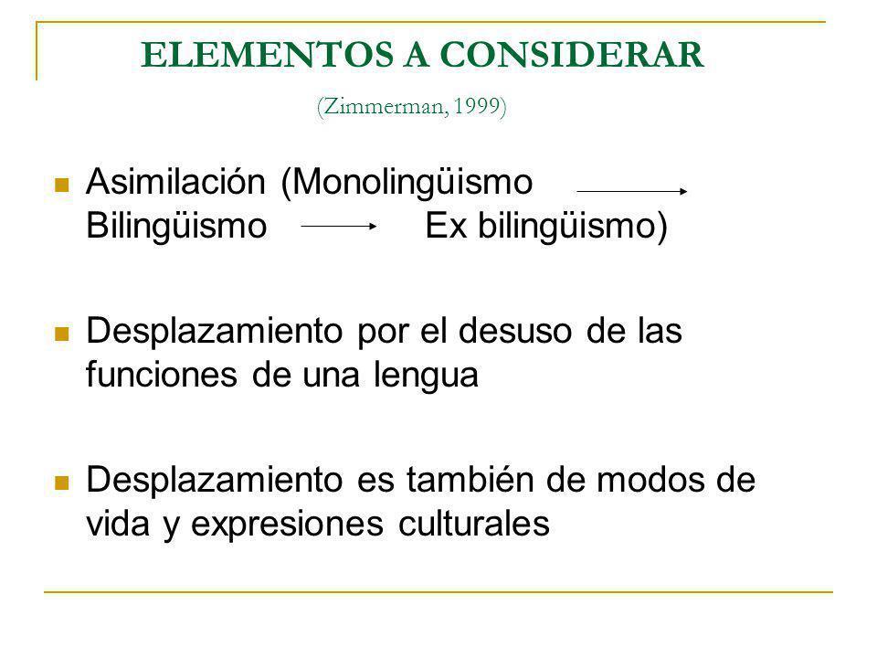 ELEMENTOS A CONSIDERAR (Zimmerman, 1999) Asimilación (Monolingüismo Bilingüismo Ex bilingüismo) Desplazamiento por el desuso de las funciones de una l