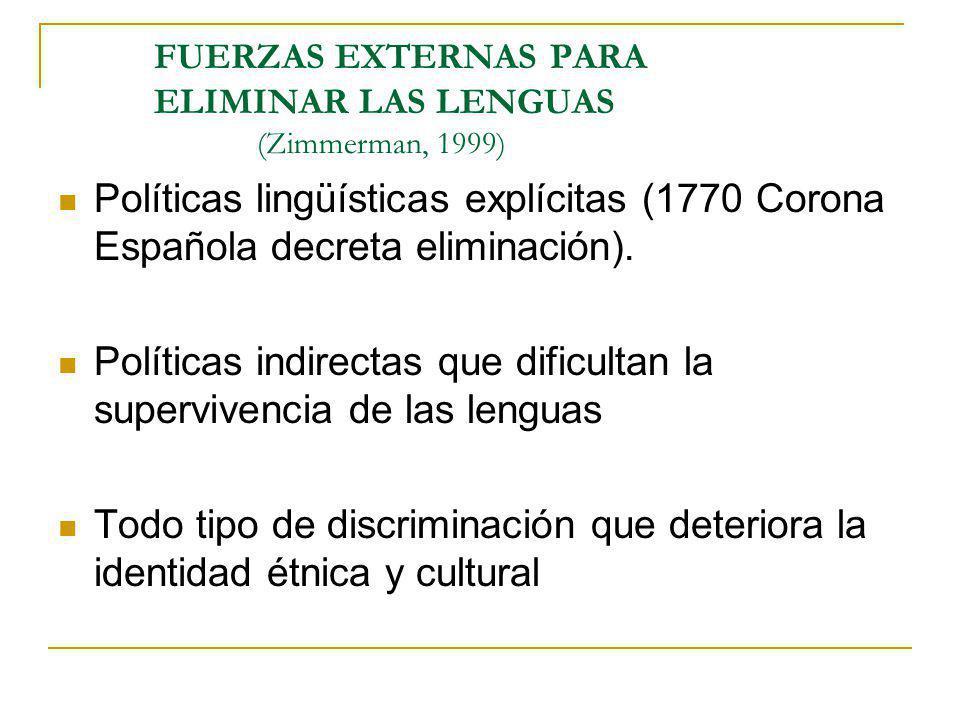 FUERZAS EXTERNAS PARA ELIMINAR LAS LENGUAS (Zimmerman, 1999) Políticas lingüísticas explícitas (1770 Corona Española decreta eliminación). Políticas i