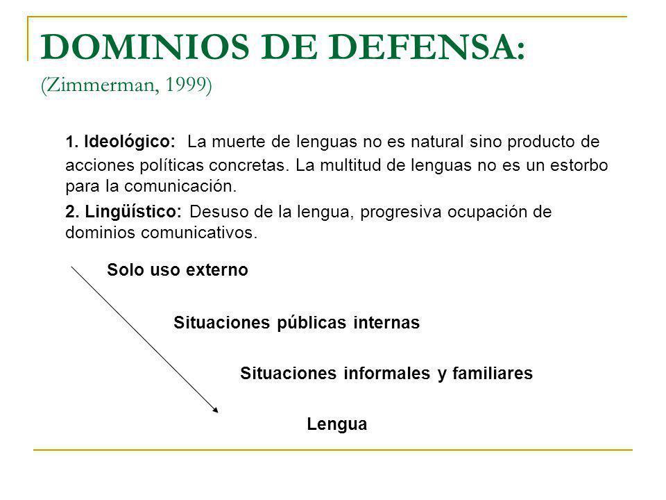 DOMINIOS DE DEFENSA: (Zimmerman, 1999) 1. Ideológico: La muerte de lenguas no es natural sino producto de acciones políticas concretas. La multitud de