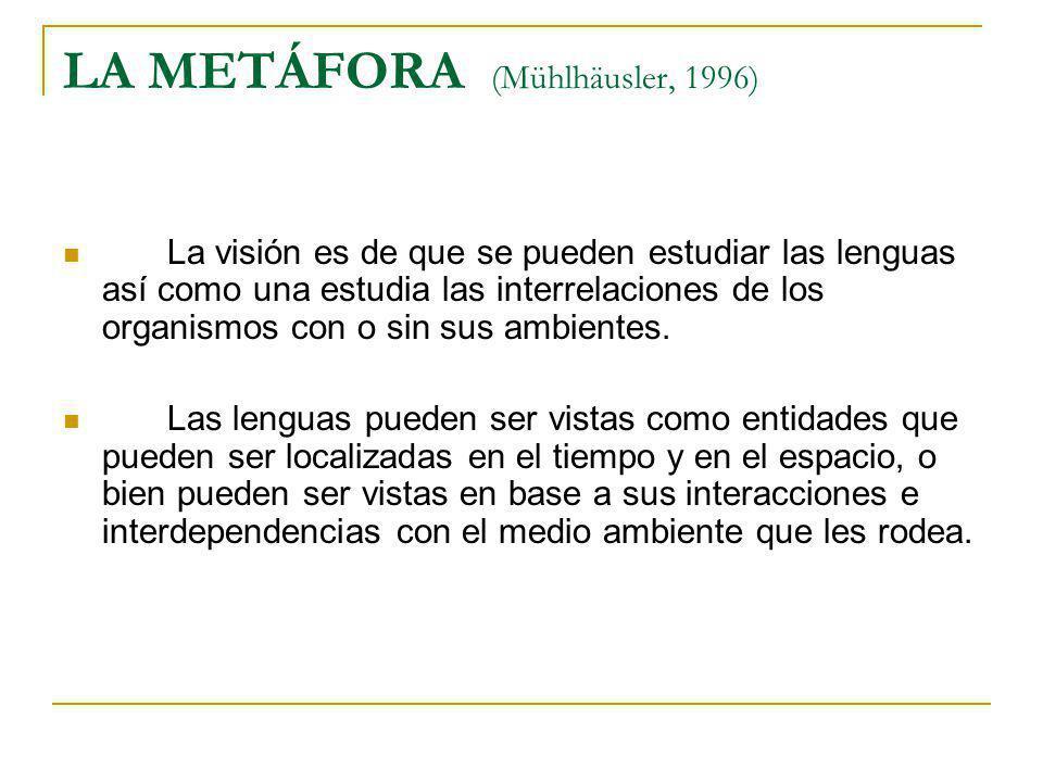 LA METÁFORA (Mühlhäusler, 1996) La visión es de que se pueden estudiar las lenguas así como una estudia las interrelaciones de los organismos con o si