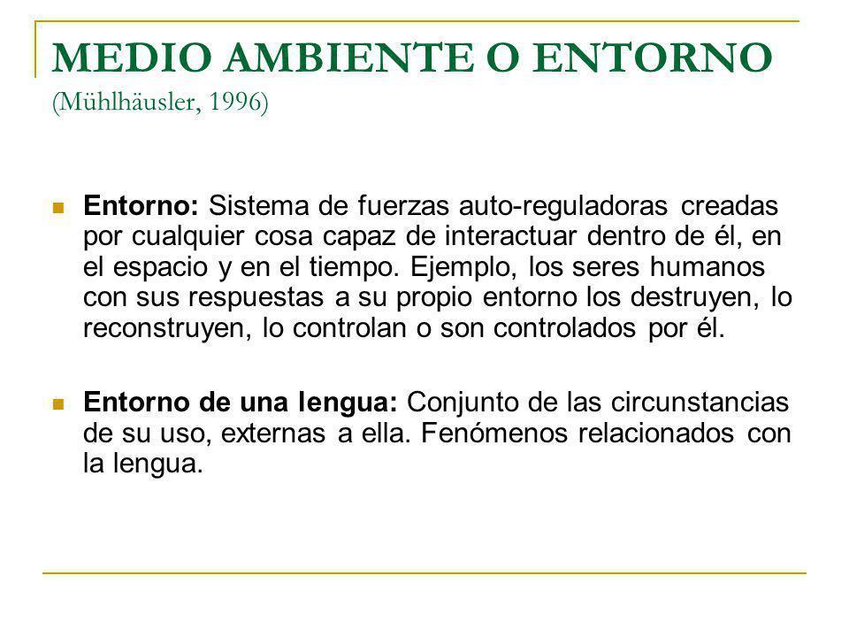 FUERZAS DEL ENTORNO DE UNA LENGUA (Mackey, 1994) Influyen en los usos de las lenguas (Funciones de la lengua) Afectan a los usuarios de una lengua (Hablantes)