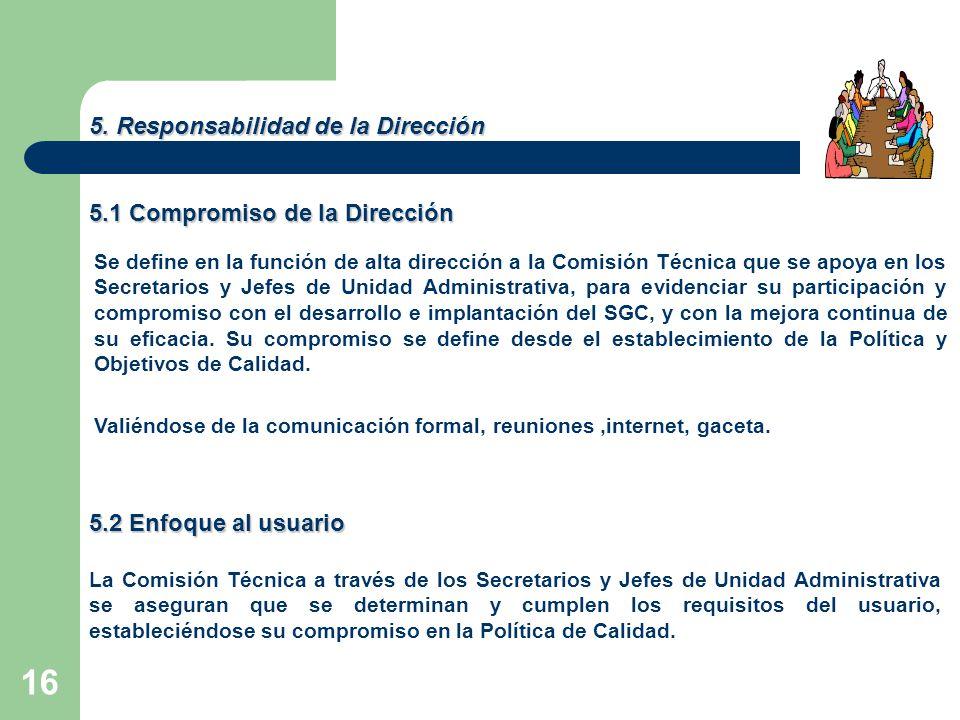 16 5. Responsabilidad de la Dirección 5.1 Compromiso de la Dirección Se define en la función de alta dirección a la Comisión Técnica que se apoya en l