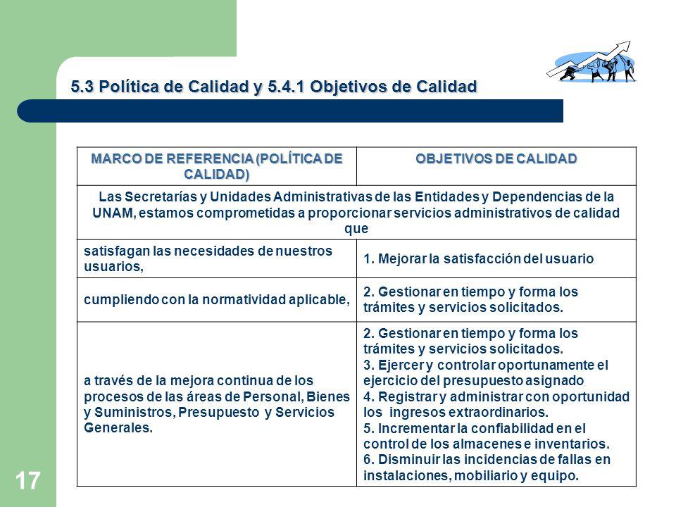 17 5.3 Política de Calidad y 5.4.1 Objetivos de Calidad MARCO DE REFERENCIA (POLÍTICA DE CALIDAD) OBJETIVOS DE CALIDAD Las Secretarías y Unidades Administrativas de las Entidades y Dependencias de la UNAM, estamos comprometidas a proporcionar servicios administrativos de calidad que satisfagan las necesidades de nuestros usuarios, 1.