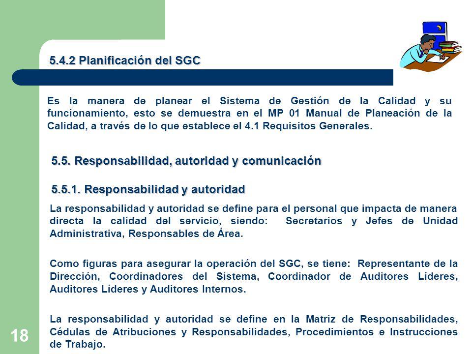 18 5.4.2 Planificación del SGC Es la manera de planear el Sistema de Gestión de la Calidad y su funcionamiento, esto se demuestra en el MP 01 Manual de Planeación de la Calidad, a través de lo que establece el 4.1 Requisitos Generales.