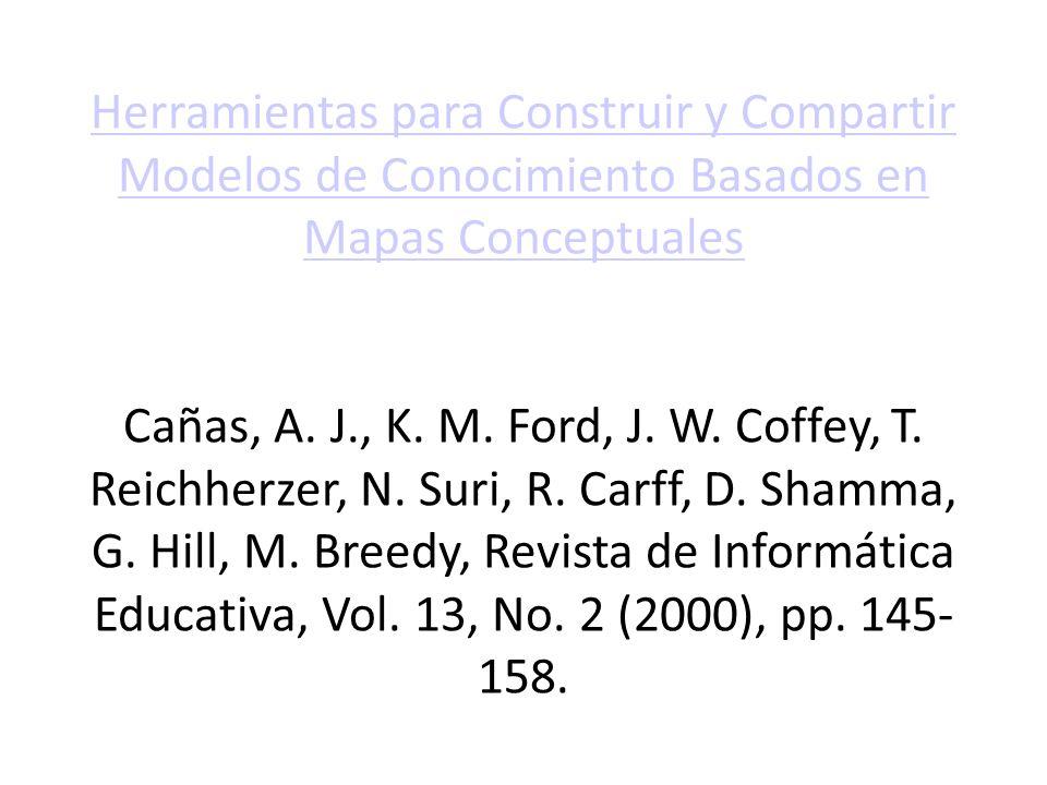 Herramientas para Construir y Compartir Modelos de Conocimiento Basados en Mapas Conceptuales Cañas, A. J., K. M. Ford, J. W. Coffey, T. Reichherzer,