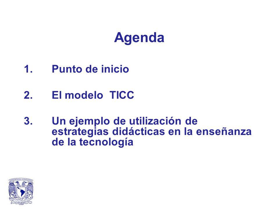 Agenda 1.Punto de inicio 2. El modelo TICC 3.Un ejemplo de utilización de estrategias didácticas en la enseñanza de la tecnología