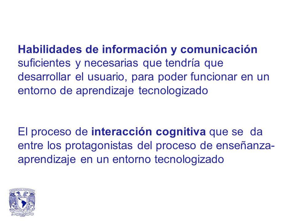 Habilidades de información y comunicación suficientes y necesarias que tendría que desarrollar el usuario, para poder funcionar en un entorno de aprendizaje tecnologizado El proceso de interacción cognitiva que se da entre los protagonistas del proceso de enseñanza- aprendizaje en un entorno tecnologizado