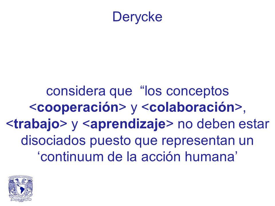 Derycke considera que los conceptos y, y no deben estar disociados puesto que representan un continuum de la acción humana