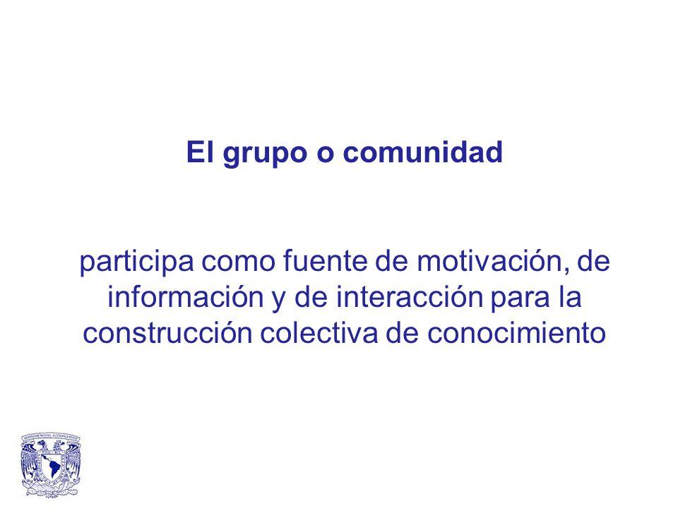 El grupo o comunidad participa como fuente de motivación, de información y de interacción para la construcción colectiva de conocimiento