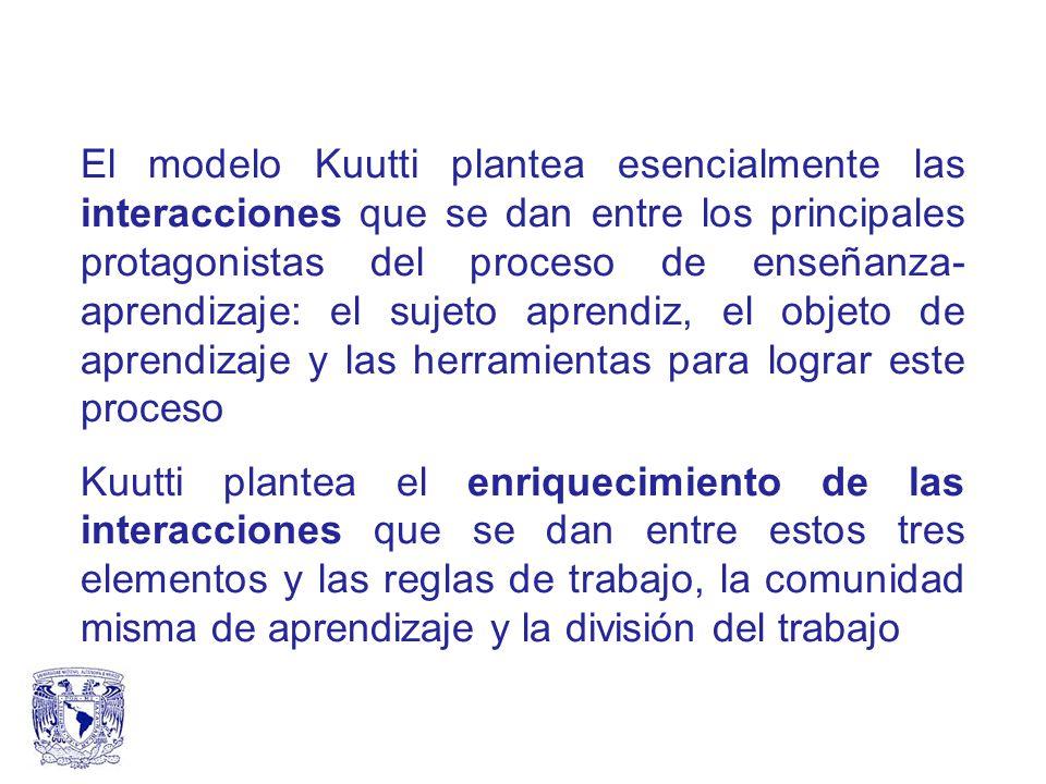 El modelo Kuutti plantea esencialmente las interacciones que se dan entre los principales protagonistas del proceso de enseñanza- aprendizaje: el sujeto aprendiz, el objeto de aprendizaje y las herramientas para lograr este proceso Kuutti plantea el enriquecimiento de las interacciones que se dan entre estos tres elementos y las reglas de trabajo, la comunidad misma de aprendizaje y la división del trabajo