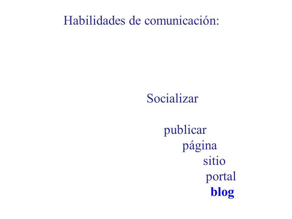 Habilidades de comunicación: Socializar publicar página sitio portal blog