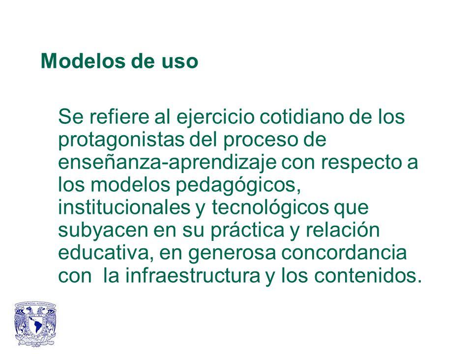 Modelos de uso Se refiere al ejercicio cotidiano de los protagonistas del proceso de enseñanza-aprendizaje con respecto a los modelos pedagógicos, institucionales y tecnológicos que subyacen en su práctica y relación educativa, en generosa concordancia con la infraestructura y los contenidos.