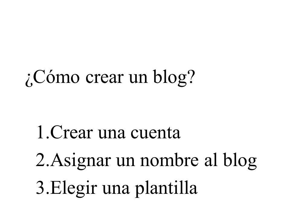 ¿Cómo crear un blog? 1.Crear una cuenta 2.Asignar un nombre al blog 3.Elegir una plantilla