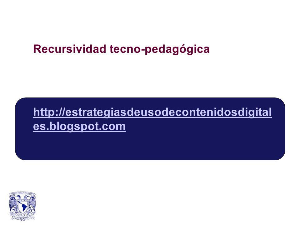 Recursividad tecno-pedagógica http://estrategiasdeusodecontenidosdigital es.blogspot.com