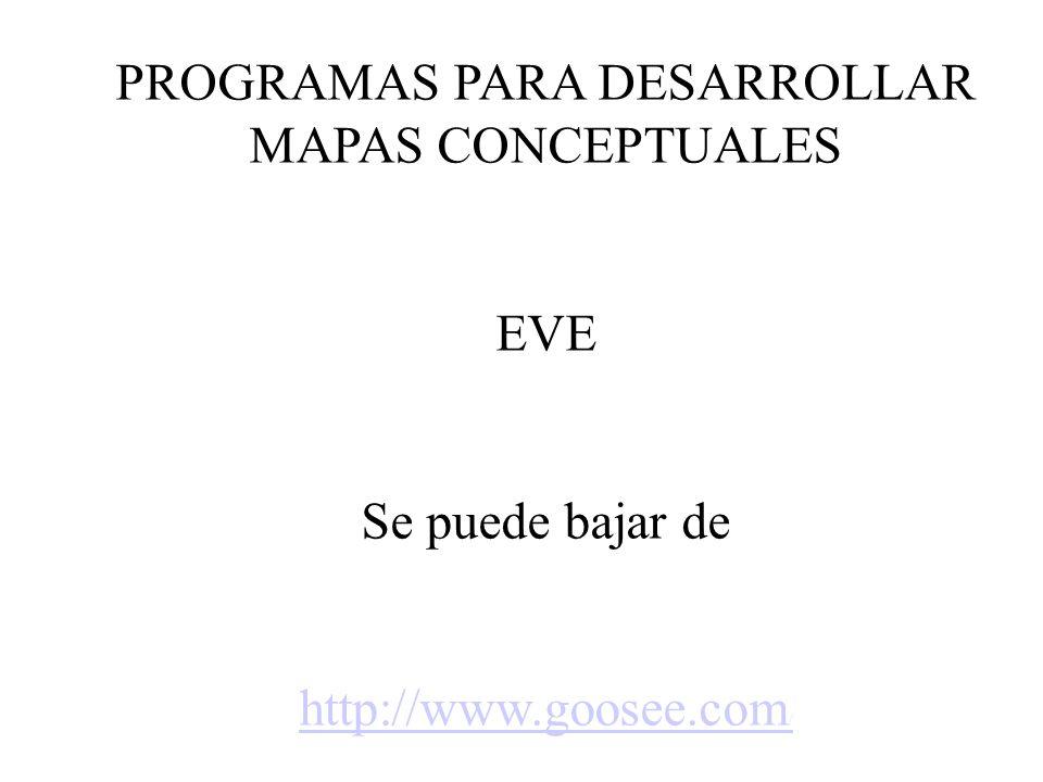 PROGRAMAS PARA DESARROLLAR MAPAS CONCEPTUALES EVE Se puede bajar de http://www.goosee.com /