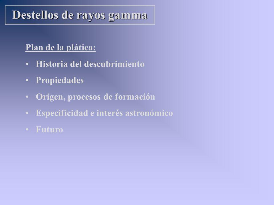 Plan de la plática: Historia del descubrimiento Propiedades Origen, procesos de formación Especificidad e interés astronómico Futuro Destellos de rayo