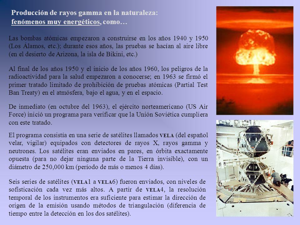 Producción de rayos gamma en la naturaleza: fenómenos muy energéticos, como… Las bombas atómicas empezaron a construirse en los años 1940 y 1950 (Los