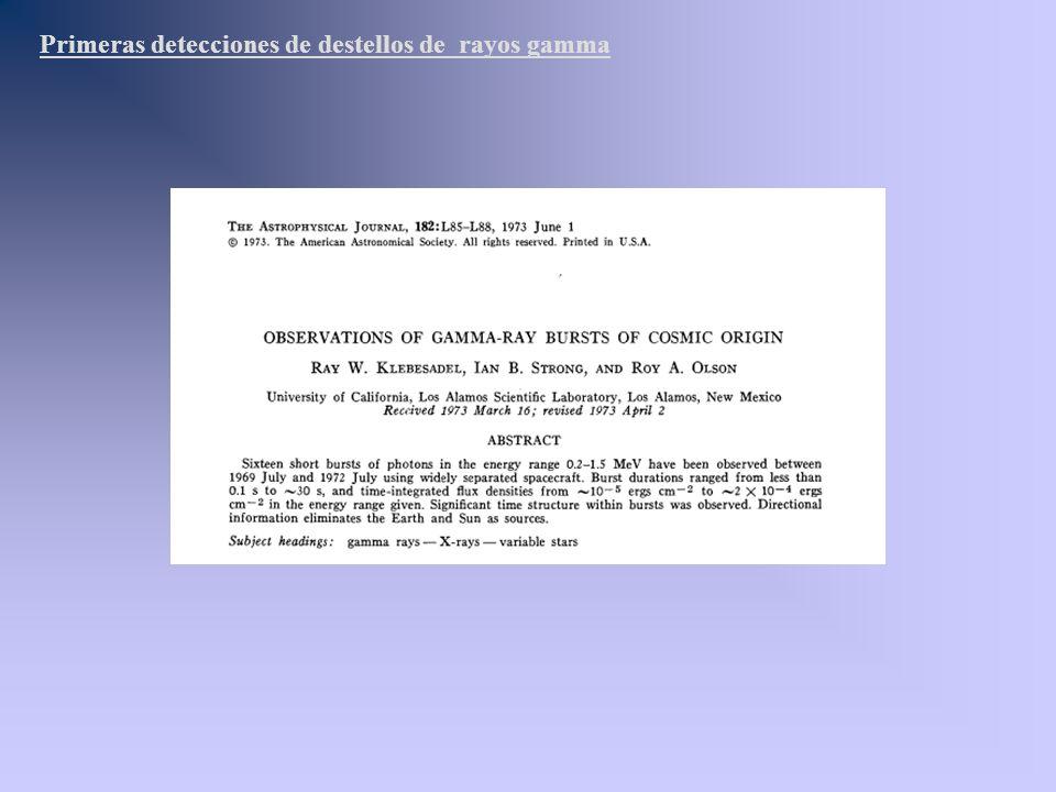 Primeras detecciones de destellos de rayos gamma