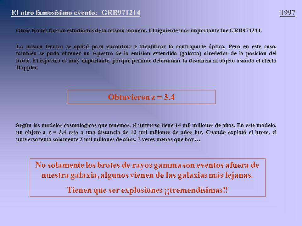 El otro famosísimo evento: GRB9712141997 Otros brotes fueron estudiados de la misma manera. El siguiente más importante fue GRB971214. La misma técnic