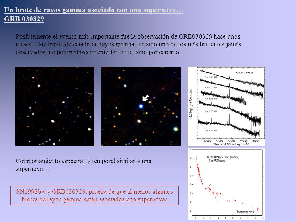 Posiblemente el evento más importante fue la observación de GRB030329 hace unos meses. Este brote, detectado en rayos gamma, ha sido uno de los más br