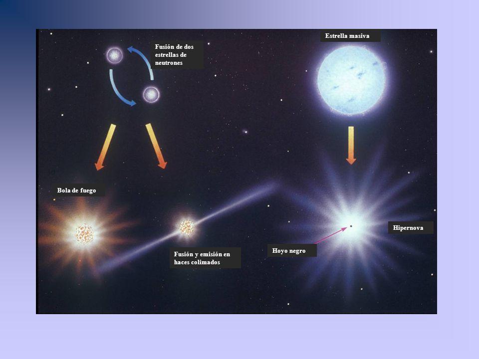 Fusión de dos estrellas de neutrones Bola de fuego Fusión y emisión en haces colimados Estrella masiva Hipernova Hoyo negro