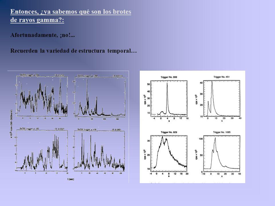 Entonces, ¿ya sabemos qué son los brotes de rayos gamma?: Afortunadamente, ¡no!... Recuerden la variedad de estructura temporal…