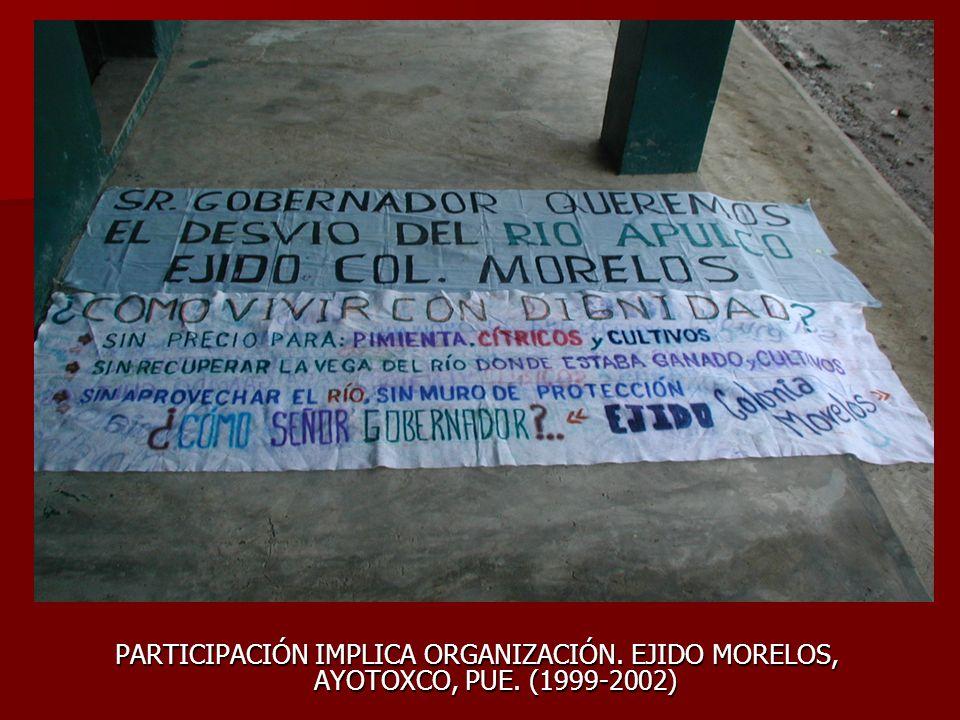 PARTICIPACIÓN IMPLICA ORGANIZACIÓN. EJIDO MORELOS, AYOTOXCO, PUE. (1999-2002)