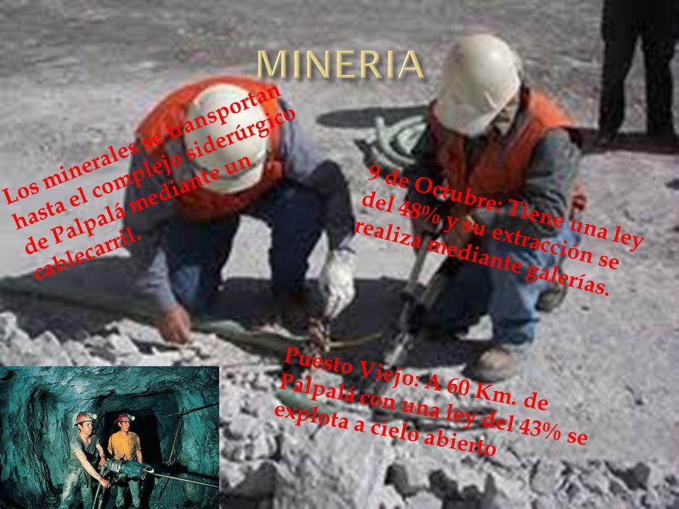 9 de Octubre: Tiene una ley del 48% y su extracción se realiza mediante galerías. Los minerales se transportan hasta el complejo siderúrgico de Palpal