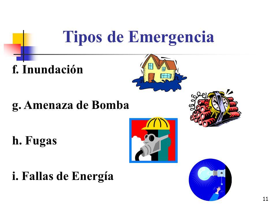 11 Tipos de Emergencia f. Inundación g. Amenaza de Bomba h. Fugas i. Fallas de Energía