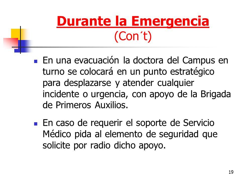19 En una evacuación la doctora del Campus en turno se colocará en un punto estratégico para desplazarse y atender cualquier incidente o urgencia, con
