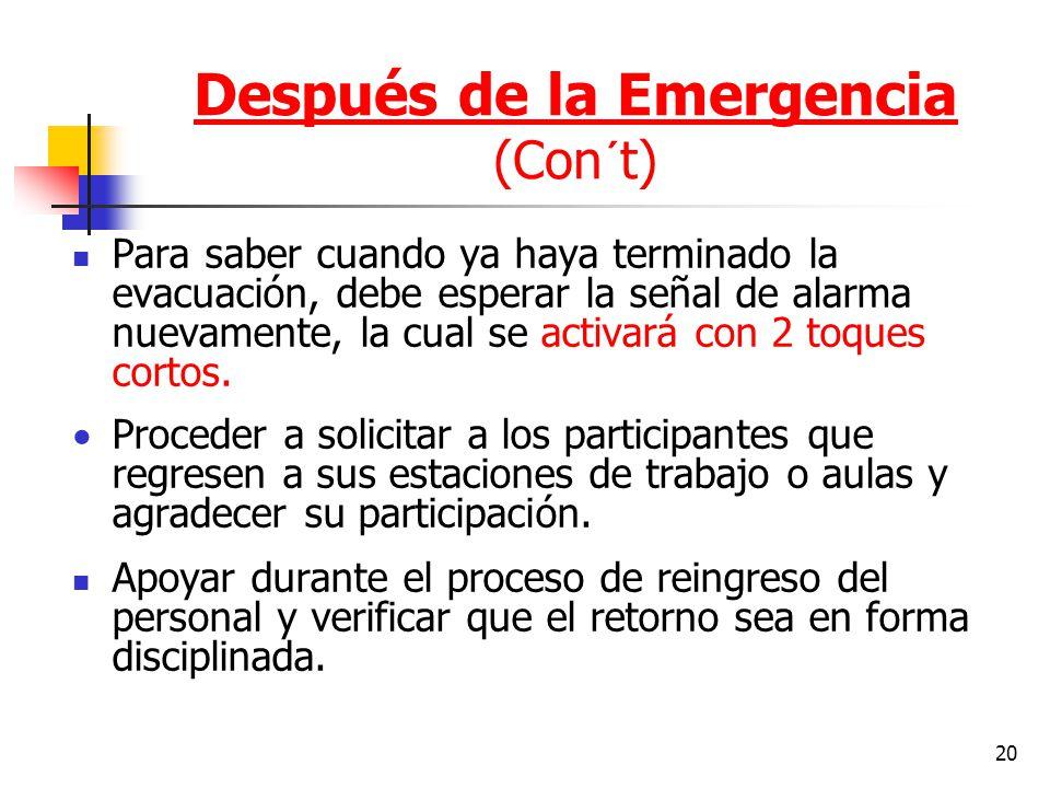 20 Para saber cuando ya haya terminado la evacuación, debe esperar la señal de alarma nuevamente, la cual se activará con 2 toques cortos. Proceder a