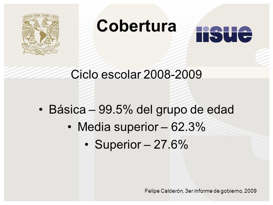 Cobertura Ciclo escolar 2008-2009 Básica – 99.5% del grupo de edad Media superior – 62.3% Superior – 27.6% Felipe Calderón, 3er informe de gobierno, 2