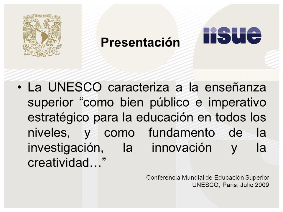 Conferencia Mundial de Educación Superior UNESCO, Paris, Julio 2009 La UNESCO caracteriza a la enseñanza superior como bien público e imperativo estratégico para la educación en todos los niveles, y como fundamento de la investigación, la innovación y la creatividad… Presentación