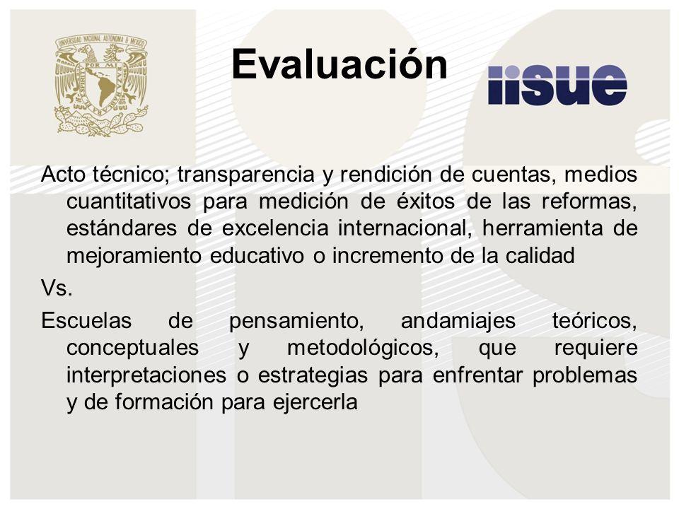 Evaluación Acto técnico; transparencia y rendición de cuentas, medios cuantitativos para medición de éxitos de las reformas, estándares de excelencia internacional, herramienta de mejoramiento educativo o incremento de la calidad Vs.