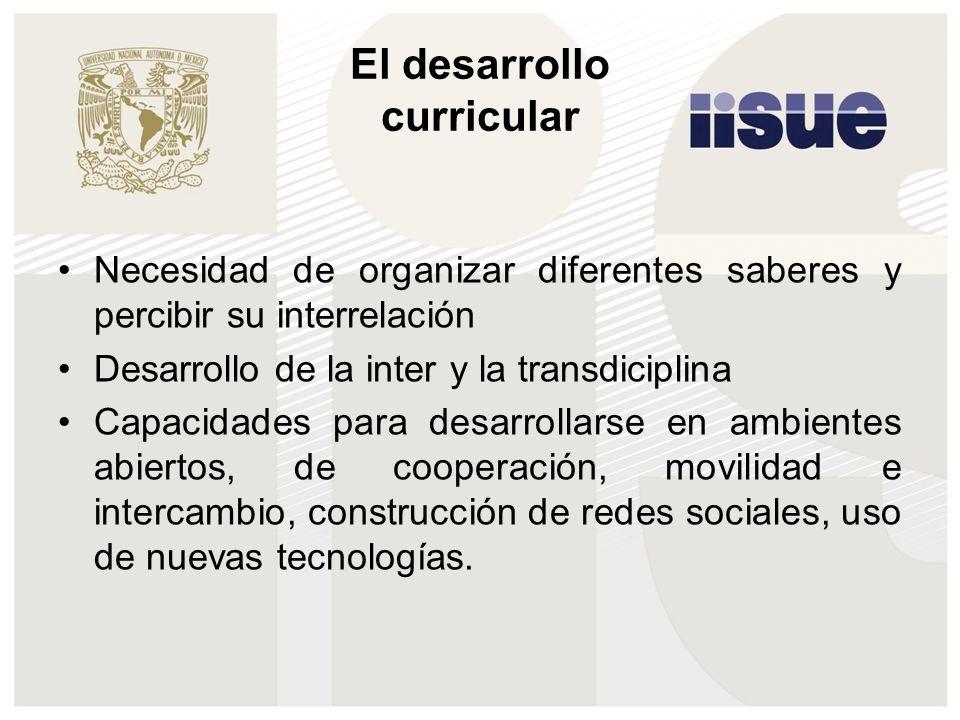 El desarrollo curricular Necesidad de organizar diferentes saberes y percibir su interrelación Desarrollo de la inter y la transdiciplina Capacidades para desarrollarse en ambientes abiertos, de cooperación, movilidad e intercambio, construcción de redes sociales, uso de nuevas tecnologías.