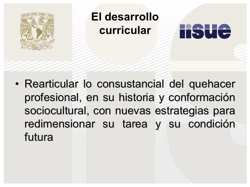 El desarrollo curricular Rearticular lo consustancial del quehacer profesional, en su historia y conformación sociocultural, con nuevas estrategias pa