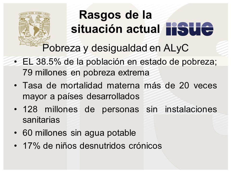 Rasgos de la situación actual Pobreza y desigualdad en ALyC EL 38.5% de la población en estado de pobreza; 79 millones en pobreza extrema Tasa de mort